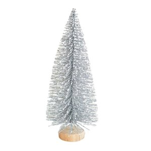 Artificial Christmas Snow Globe Cute Unique Mini Frosted Bottle Brush Trees Pretty Holiday Party Decorations with Wooden Base