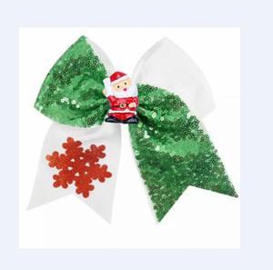 7.5 inch Large Sequin cheer bow CHRISTMAS Elastic Hair Bands Ribbon hair bow For Cheerleading kid Girl Hair Accessories 8pcs