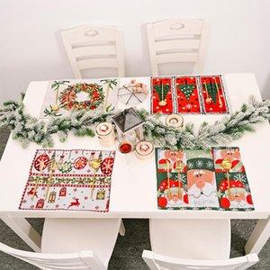 Natale lavorato a maglia Placemat Tabella Set Cena festiva Rettangolo Tabella Mats Home Accessori Cucina Macchina del partito della decorazione # 38