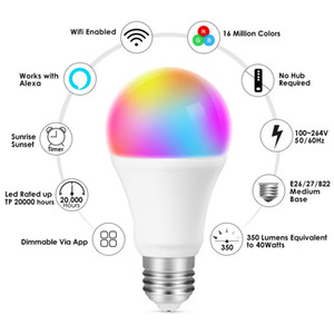 Explosion Models Home Smart Wifi Bulb Sound and Light Control Color Bulb European and American Universal WiFi Smart Color Bulb
