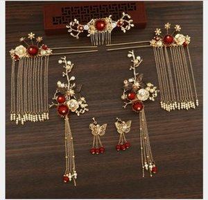 Couvre-chef nuptiale, rouge chinois ancien costume, robes de mariée, la coiffure, des toasts, des décorations classiques.