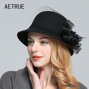 بخيل حافة القبعات زهرة الصوف الأسود النساء فيدورا نقية قبة الإناث الربيع الشتاء للزهور الصوف الصوف سيدة واسعة