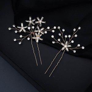 FORSEVEN 1 Set El yapımı Basit Stil Yıldız Tokalar Seti Moda Rhinestone Saç Kadınlar Gelin Saç Süsler Takı JL Sticks