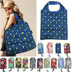 Portable Shopping Bags Tote Women Durable Shopping Storage Bags Supermarket Large Capacity Pocket Printed Polyester Folding Handbags DHE761