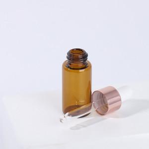 1ml 2ml 3ml 5ml verre ambré ronde bouteilles Dropper or rose Cap vide Echantillon Dropper Cosmétique Emballage