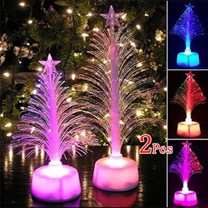 Lámpara LED árbol de fibra óptica colorido luz nocturna de Navidad regalo de los niños Luz
