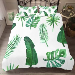 Bed Linen Home Textile Bedding Clothes Green Leaf Printed for Kid with Pillowcases King Queen Sinlge Size