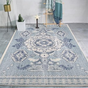 Wishstar Sudeste Asiático étnico Styel Blue Carpet velho cinzento Lavados padrão geométrico Tapetes Sala Quarto Ao lado Rugs