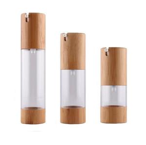 Çevre Dostu Bambu Uçlar Şişe 15ml Parfüm Losyon Kozmetik Cilt Bakımı Havasız Pompa konteynırlar için 30ml 50ml Boş Püskürtme Şişe