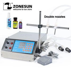 ZONESUN 2 Cabeça de Semi automático da bomba peristáltica líquido máquina de enchimento Perfume suco Frasco de petróleo essencial de água que faz máquinas