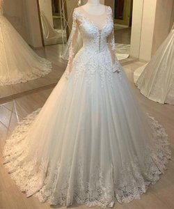 White Lace Wedding Dress with Sleeves Ball Gown Scoop Appliques vestidos de novia Pearls Beaded Bride Dress