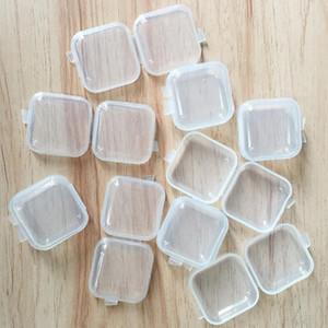 Quadrado vazio Box Mini plástico transparente de armazenamento Containers Caso com tampas pequena caixa de jóias Earplugs Caixa de armazenamento HHA1594