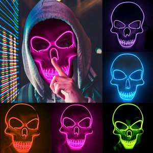 10 colors LED Glowing Wire Mask Halloween Party Mask Skeleton Mask for Halloween Decoration Horror Theme Party Designer Face Masks
