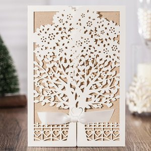 WISHMADE Vertical Wedding Invitations Cards with White Elegant Laser Cut Tree Design , Customizable 50pcs lot CW6176