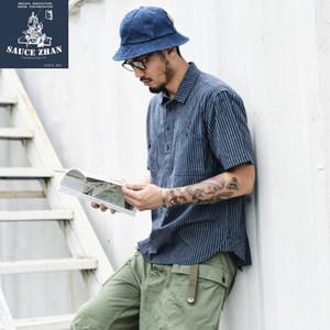 camiseta mens SauceZhan clásico a rayas camisas de vestido de la camisa 100% algodón camisas ocasionales envío libre NNav #