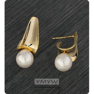 YMYW semplice imitazione perle di metallo orecchini elegante Chia Charm oro d'avanguardia orecchini per le donne