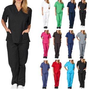 Womens duas peças Trabalho aptidão Fardas Conjuntos roupas de enfermagem esfrega a roupa Moda manga curta Tops V-Neck Shirt Calças Roupa Mão