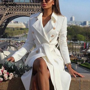 FIONTO Vintage Double Breasted White Trench Coat for Women Sashes Slim Long Trench Female Winter Office Solid Dress