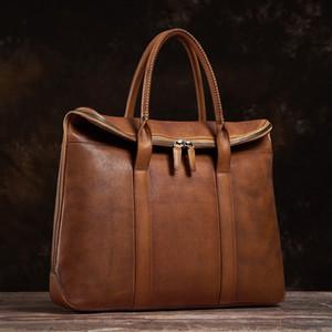NUPUGOO Genuine homem Vintage Leather Handbag Briefcase Homens Ombro Brown Alta Qualidade Moda Negócios de 15 polegadas Laptop Escritório Bag