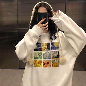 Winter New Fashion Large Size Loose Van Gogh Art Casual Vintage f Print Long Sleeve Tops Harajuku Ulzzzang ins Sweatshirt