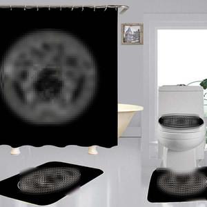패션 홈 샤워 커튼 4 개 세트 소프트 미끄럼 방지 카펫 편지 인쇄 화장실 매트 고급 욕실 목욕 커튼