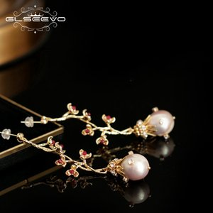 GLSEEVO Natural Fresh Water Pearl Dangle Drop Earrings For Women Wedding Gifts Tree Flower Handmade Fine Luxury Jewelry GE0792 200921