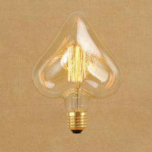 AC220V 230v 240v 40w Урожай Эдисон Урожай Сердце лампы E27 Лампа накаливания Лампа накаливания Белка -Cage углерода ретро Эдисон Источник света