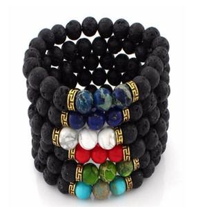 7 Chakra Lava Stone Mala Essential Oil Diffuser Protection Energy Healing Stretch Bracelet Men Women Christmas Gift 16 Styles B348S