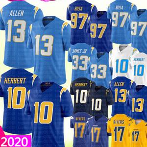 2020 LosAngelesCaricabatterie 13 Keenan Allen 10 Justin Herbert Jersey 97 Joey Bosa 33 Derwin James 17 Philip Rivers Calcio Maglie