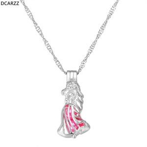 DCARZZ Tangled Rapunzel Pearl Cage collana sveglia modo del pendente della catena dei monili di collegamento Classic Girocollo regalo delle donne Collana iniziale