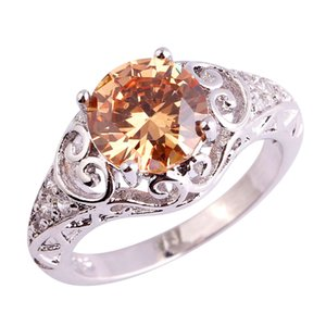 Lab Gems Morganite Unisex Rings handmade 18K White Gold Plated Silver Ring Size 6 7 8 9 10 11 Free Shipping Wholesale Jewelry