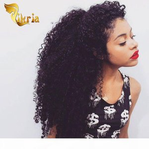 Full Lace Human Hair Wigs Deep Curly Natural Black Color Lace Front Wigs Brazilian Indian Peruvian Malaysian Mongolian Deep Curly Wigs