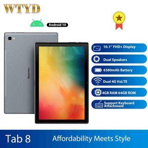 Original Blackview Tab 8 Tablet de 10,1 polegadas 4GM + 64GM Octa Núcleo Android 10 Dual SIM 4G Camera LTE 13MP traseira 6580mAh Tablet PC Phone