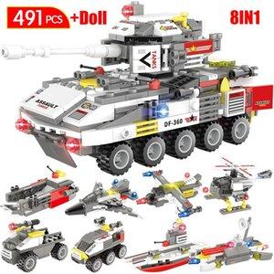Tijolos modelo Figuras Turck tanque blindado Crianças Soldado Diy Brinquedos Militar 491pcs Blocos de apartamentos de rodas para carro Aircraft tnEYu E2008