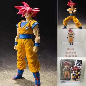 Saiyan Súper S.h.figuarts juguete Figura - Red Collection Modelo Y190529 PVC de acción Super Goku niños Hijo de pelo Dios ABC2007 UZfcx