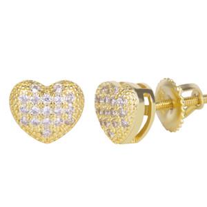 New Custom Heart Shape Earrings 925 Sterling Silver Stud Earring Iced Out CZ Earring Hip Hop Bling Earrings