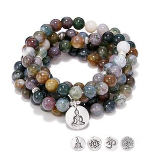 8 mm Naturel Inde A-porte de pierre Bracelet Wraps femmes 108 Mala Yoga collier ou bracelet Mesdames prière perles OM Lotus