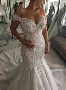 Elegant Mermaid Lace Wedding Dresses Off The Shoulder Appliqued Bridal Gowns Sweep Train Beach Wedding Dress Robe De Mariee