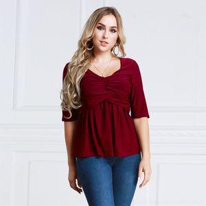 TbMmr 높은 품질 플러스 사이즈 여성의 중간 슬리브 섹시한 섹시 2012 고품질 플러스 T 셔츠 사이즈 5jFl 중반 소매 주름 주름 T 셔츠 2012 호