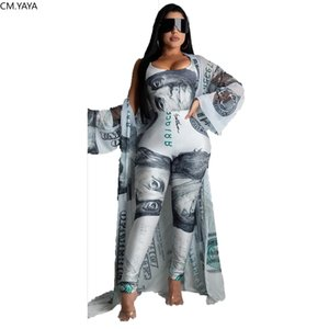 2020 Summer Women 3 Pieces Sets Summer Tracksuits Bodysuits+Pants+Coat 3 pcs Leggings Dollar Print Suit Fitness Outfit GL1229