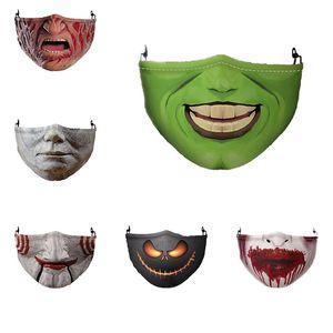 Halloween Face Mask Reusable 3D Skull Pumpkin Grimace Cotton Face Mask Designer masks Reusable PM2.5 Carbon Washable Adult GWF1892