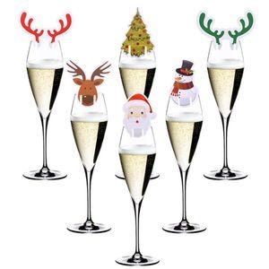 10pcs / lot Noel Kupası Kart Süsleri Home For Masa Yeri Kartları Noel Santa Hat Şarap Cam Dekorasyon Yılbaşı Parti Malzemeleri