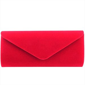 Elegant Red Suede Female Solid Women Evening Bags Envelope Clutch Bag Girl Wedding Party Handbag Velour Prom Shoulder Bag