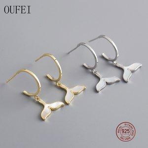 Oufei 100% 925 Sterlingsilber-Ohrringe für Frauen Tropfen-Ohrring-Goldfarben-Fish Tail Korean Mermaid Charm Ohrring-Mädchen-Geschenk