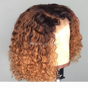 Bob Style Curly Ombre Blonde #1bT27 Silk Top Lace Front Wig Short Bob Glueless Full Lace Human Hair Wig For Black Women