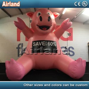 حار بيع عملاق الخنزير الوردي نفخ في الهواء الطلق للديكور والإعلان للنفخ الجلوس الحيوان الرسوم المتحركة خنزير تحلق