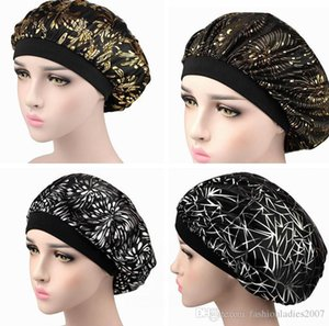 Muslim Women Wide Band Stretch Silk Satin Bonnet Hot Floral Print Bandana Sleeping Turban Hat headwrap Bonnets chemo caps Hair Accessories