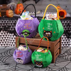 Calabaza de Halloween Candy Bag niños de dibujos animados bolso monederos cesta Trick or Treat letras bordado totalizadores de Todos los Santos Party Decor regalos D9710