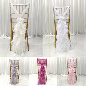 Wedding Chair Torna decorazioni foglio del loto chiffon copertura della sedia della copertura Albergo Wedding Banquet Sedile Decoration