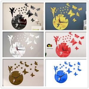 Fairy Butterfly Wall Clock DIY Self Adhesive Acrylic Mirror Stickers Watche Modern Design Living Room Bedroom Home Decor Horloge